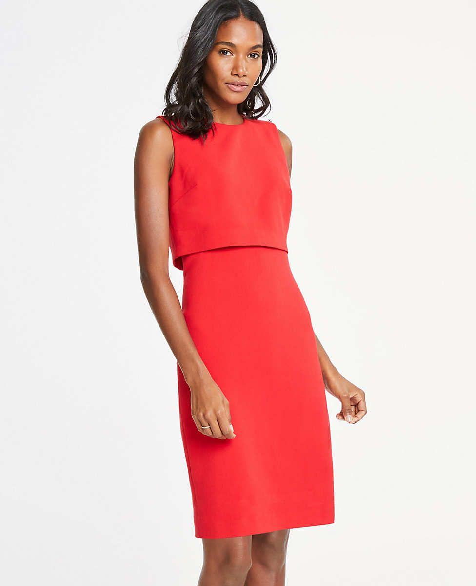 83110f8e144 Ann Taylor Pearlized Shoulder Doubleweave Dress