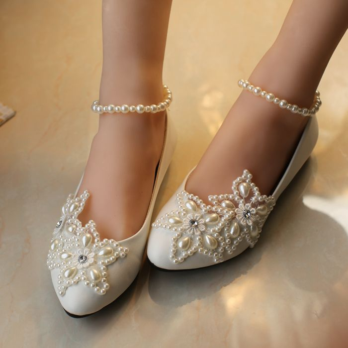 2017 White five-pointed star pearl rhinestone beaded anklet Wedding Shoes  Bridesmaid Shoes handmade Shoes woman flats size 41-52 576144674327