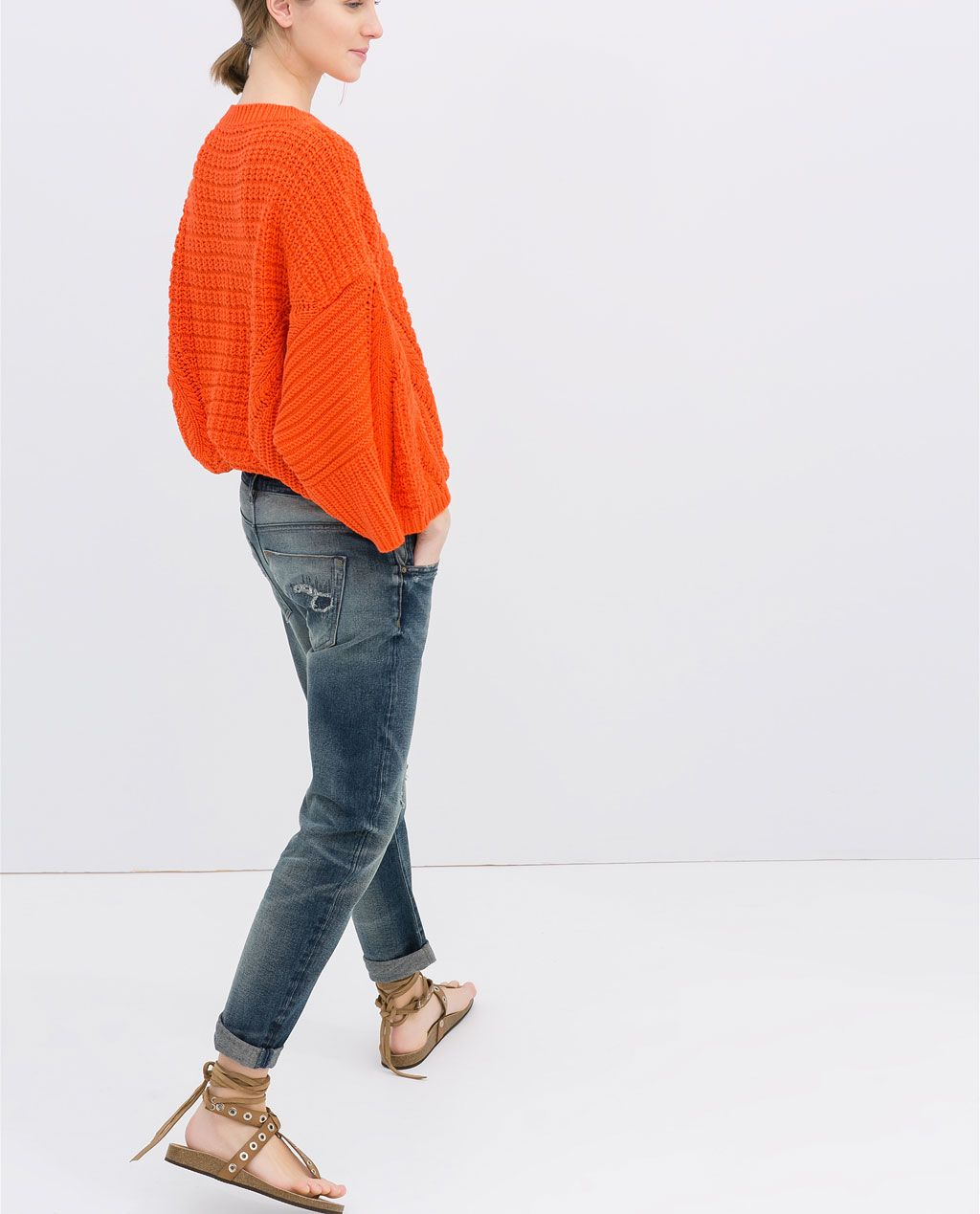 ZARA - NEW THIS WEEK - WASHED-EFFECT BOYFRIEND  JEANS WITH RIPS