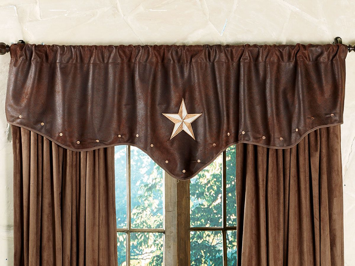 western valances with star | Starlight Trails Chocolate Star ...