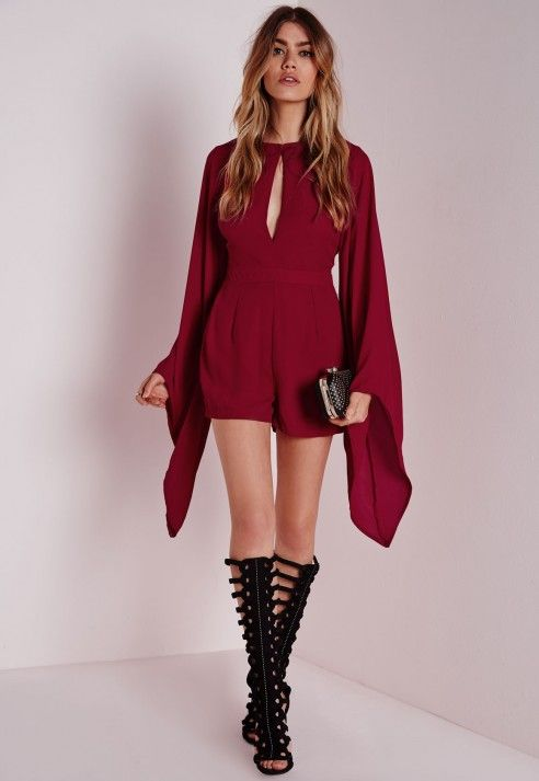 15dd6eef87f Cape Sleeve Playsuit Burgundy - Cape - Playsuit - Missgudied ...