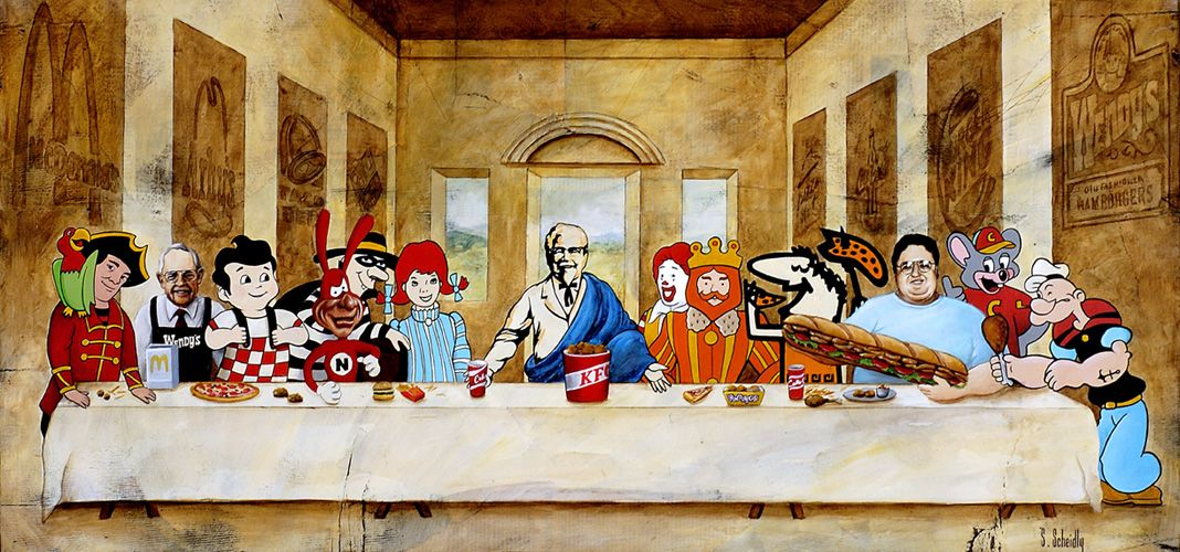 Fast Food Last Supper The Last Supper Painting Last Supper Art Parody