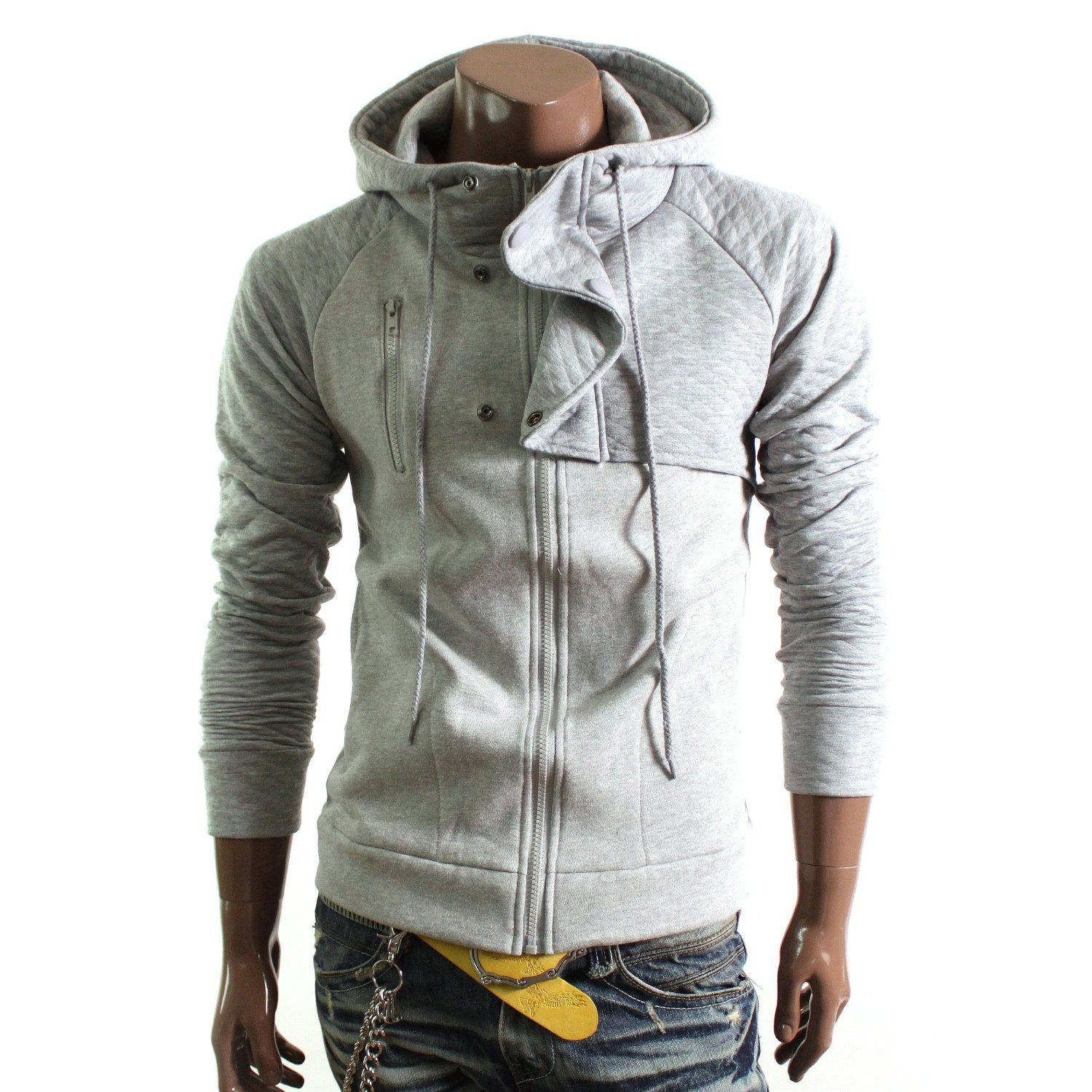Doublju mens casual quilt hooded jacket hj fashion pinterest