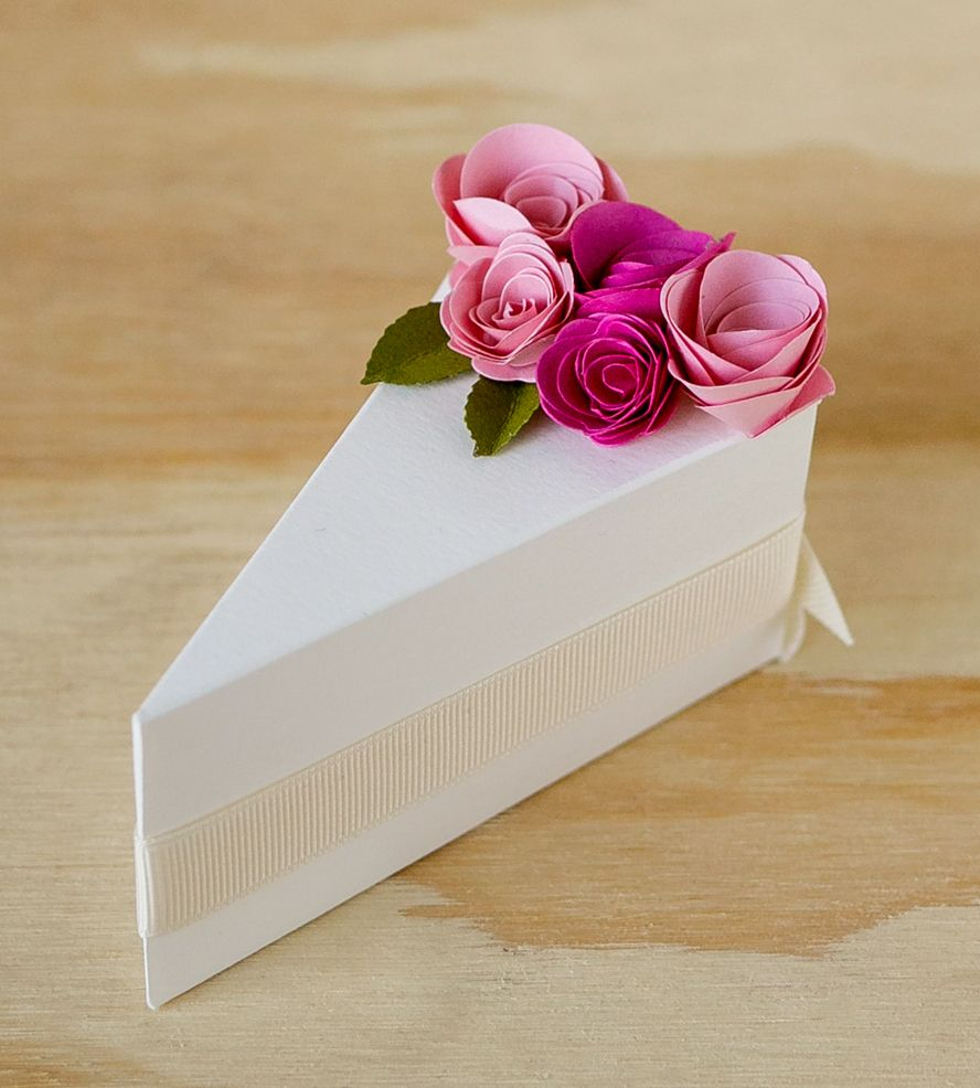 Cream Paper Cake Slice Favor Boxes