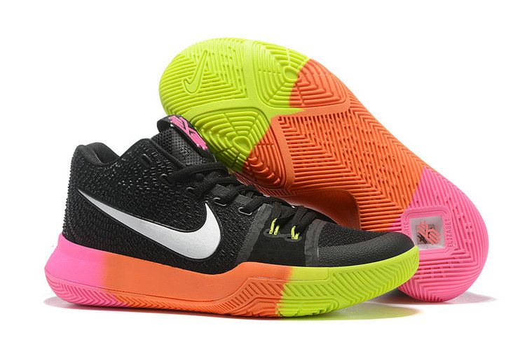 27f757989cab 2018 Authentic Mens Nike Zoom Kyrie 3 Basketball Shoes Coal Black White  Rainbow