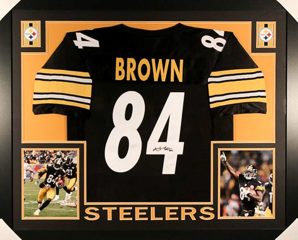 best deals on 5492f 64ba8 Antonio Brown Signed Steelers 35x43 Custom Framed Jersey ...