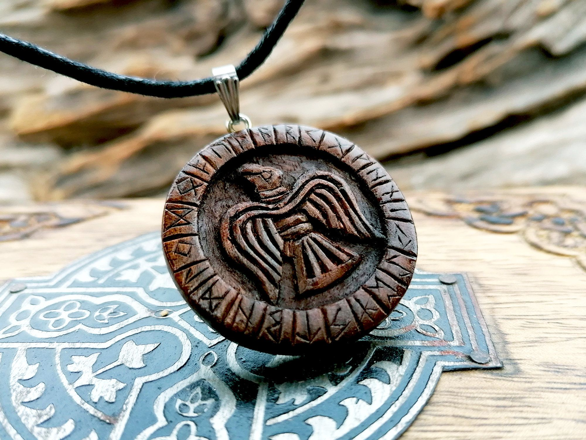 silver bail Carved Walnut Wood Pendant