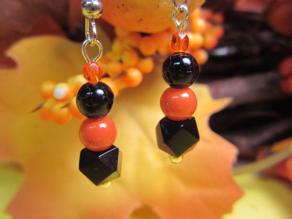 Fun Halloween Dangle Earrings Orange and by CoralAnneCreations