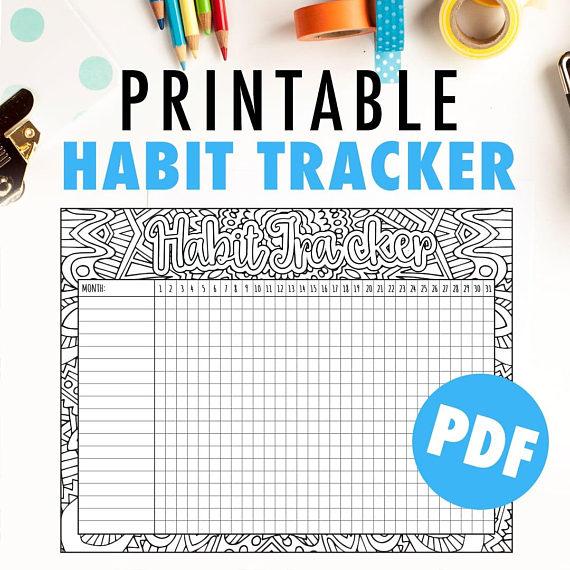 Habit Tracker Printable Monthly Habit Tracker Or Goal Tracker