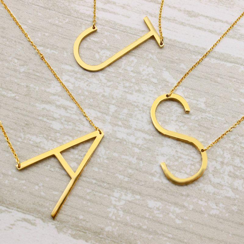 Large Letter Necklace  Oversized Letter Gold Alphbet Necklace
