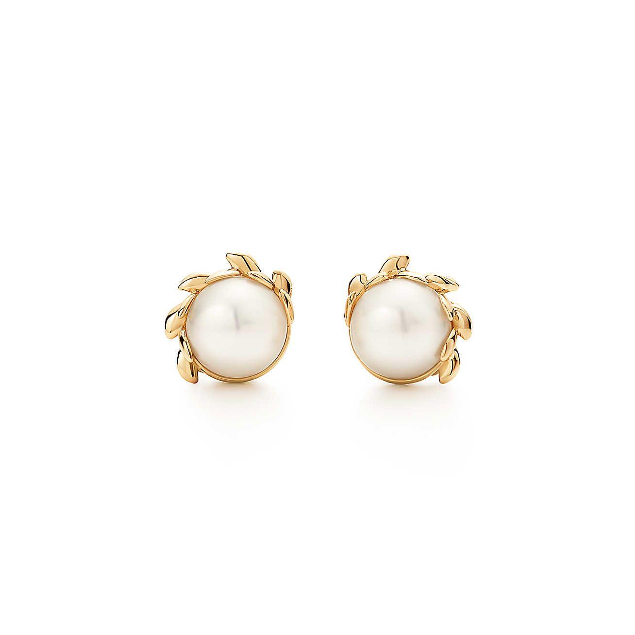 Paloma Pico Olive Leaf Br Pearl Earrings Jewlery In