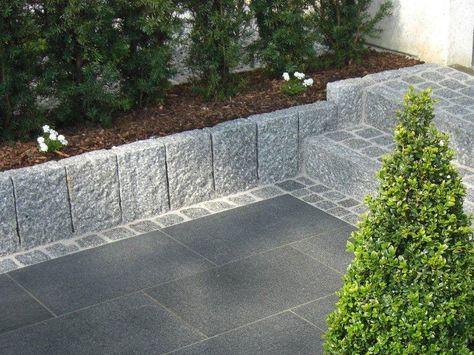 Beeteinfassung Ideen idee treppe hellgrauer granit randstein als beeteinfassung