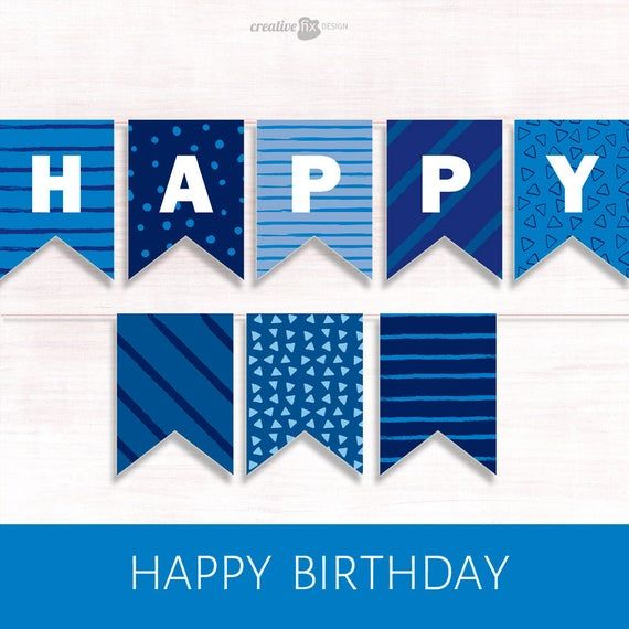 Happy Birthday Banner Blue Printable Banner Blue Happy Etsy Happy Birthday Banner Printable Happy Birthday Banner Printable Free Birthday Banner Free Printable