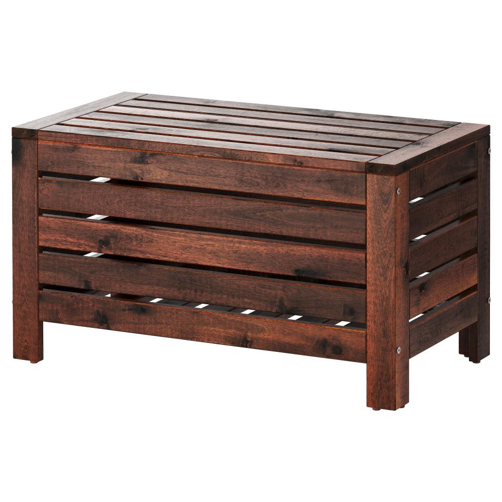 Applaro Storage Bench Outdoor Brown Stained Brown Width 31 1 2 Ikea Outdoor Storage Bench Outdoor Storage Storage Bench