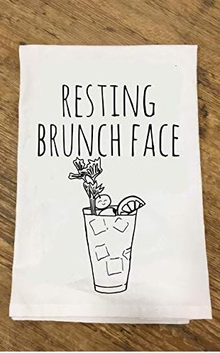 Funny Dishcloth Tea Towel Resting Brunch Face Funny Kitchen Cloth Resting Brunch Face Kitchen Humor Flour Sack Dish Towels