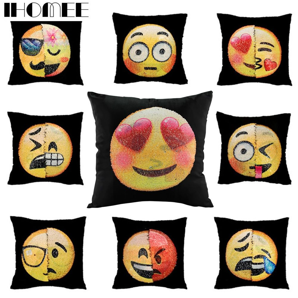 New sequin changable face emoji cushion cover decorative pillowcase