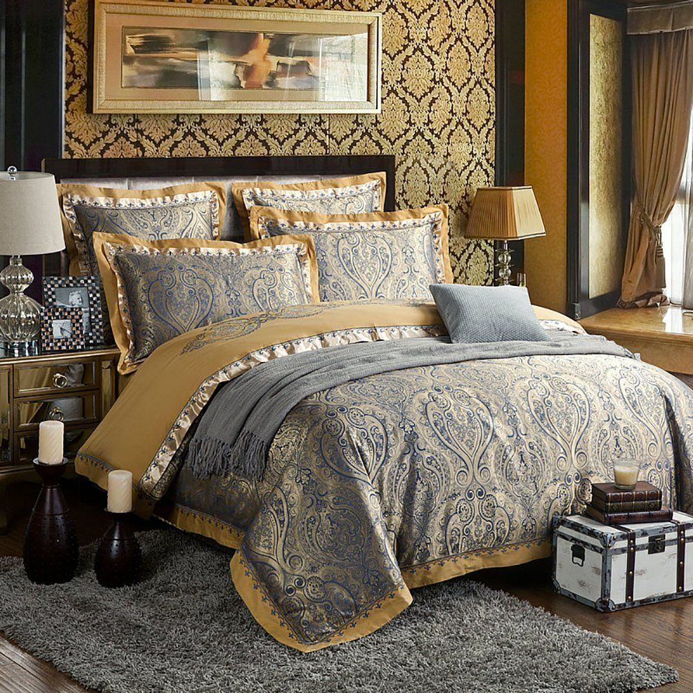 Zangge Bedding Luxury Satin Jacquard Paisley Sets Include 1 Duvet Cover Flat Sheet 2