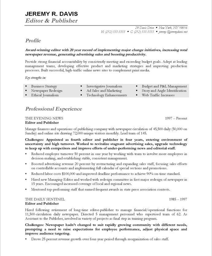Managing Editor-Page1 Media  Communications Resume Samples