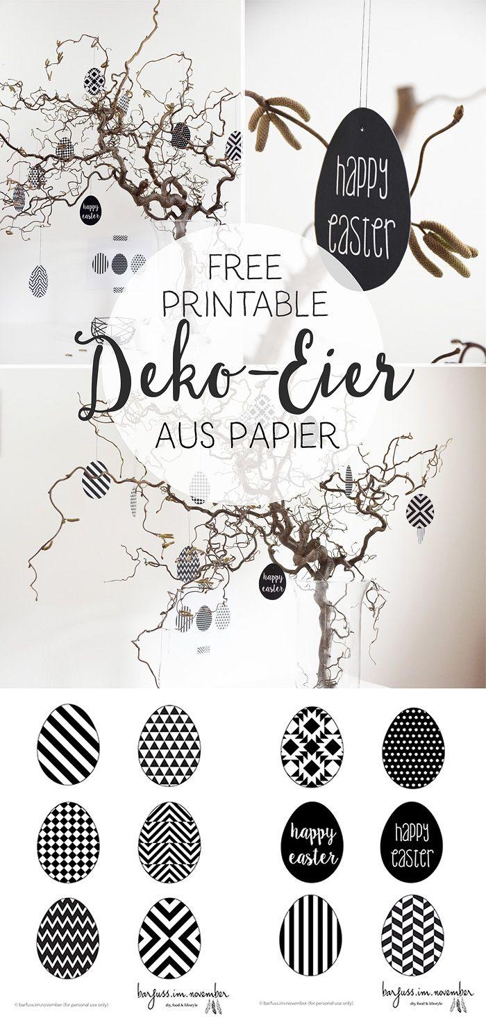 Diy Geometrische Deko Eier Aus Papier In Black White Free Printable