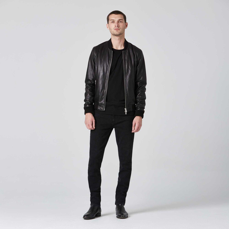 Mens Leather Bomber Jacket 350 Dstld Mens Leather Bomber Jacket Leather Jacket Outfit Men Black Outfit Men [ 1500 x 1500 Pixel ]