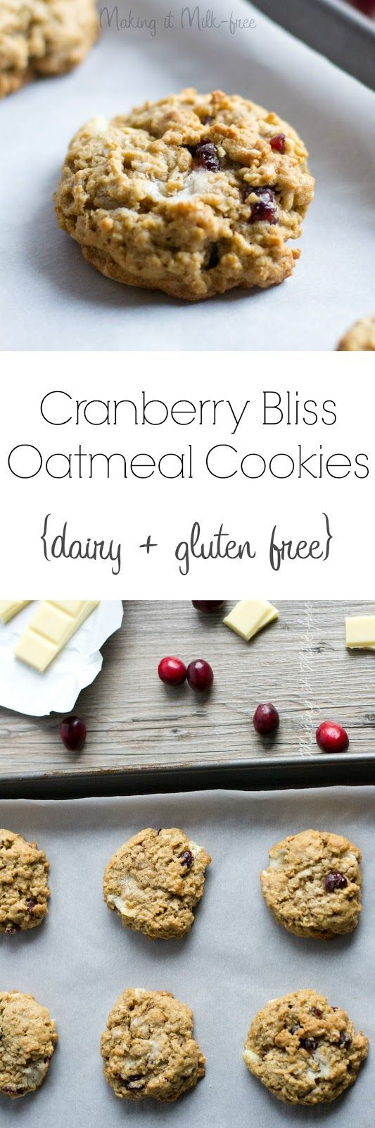 Cranberry Bliss Oatmeal Cookies {dairy + gluten free