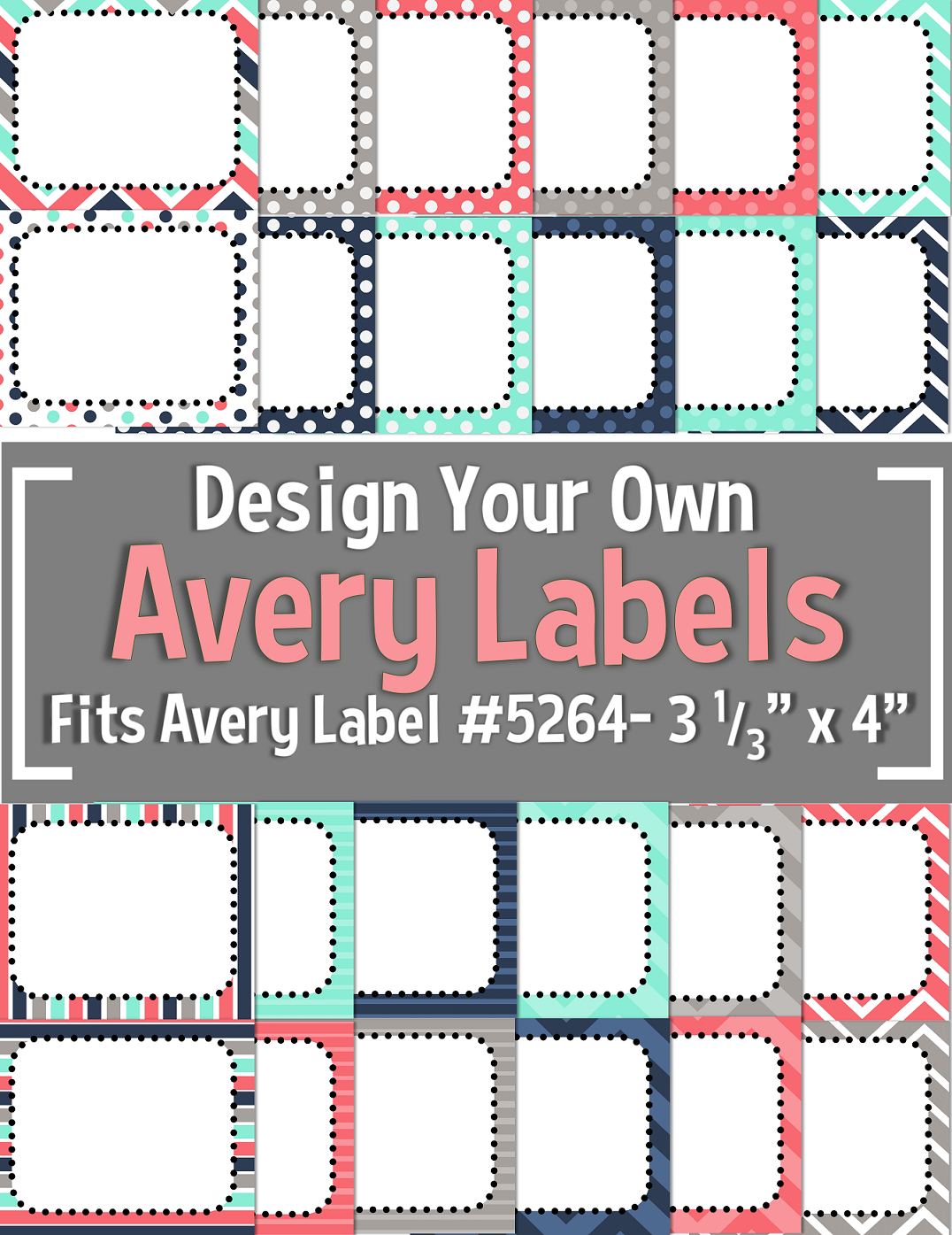 teal navy gray coral editable avery labels 5264 3 1 3 x 4