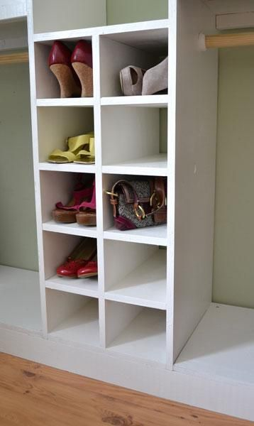 Diy furniture plan from ana white com a slide in cubby divider for the master closet system fits shoes handbags and other small accessories