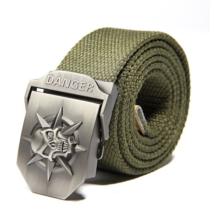Fashion New Accessories Mens Skull Automatic Bbuckle Canvas Tactics Belt Brown
