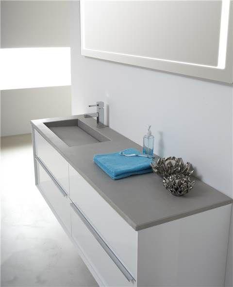 badkamer meubel met beton look bovenblad #vandijktegel #dordrecht, Badkamer