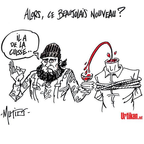 Le Beaujolais nouveau : un vin Français - Dessin du jour - Urtikan.net