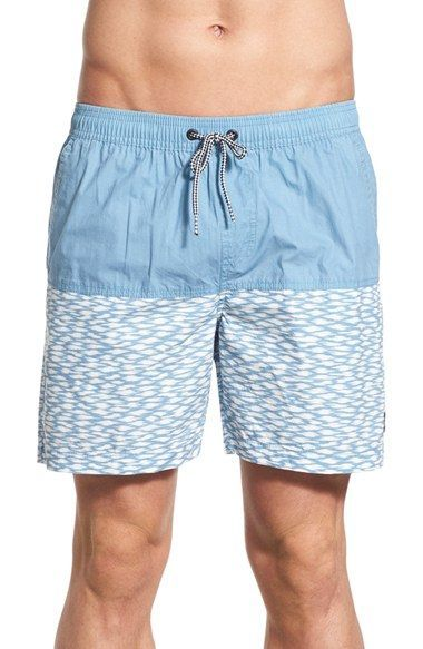4c82c735ee9a5 Imperial Motion 'Zuric' Colorblock Print Swim Trunks Men's Swimsuits,  Swimwear, Vacation Style