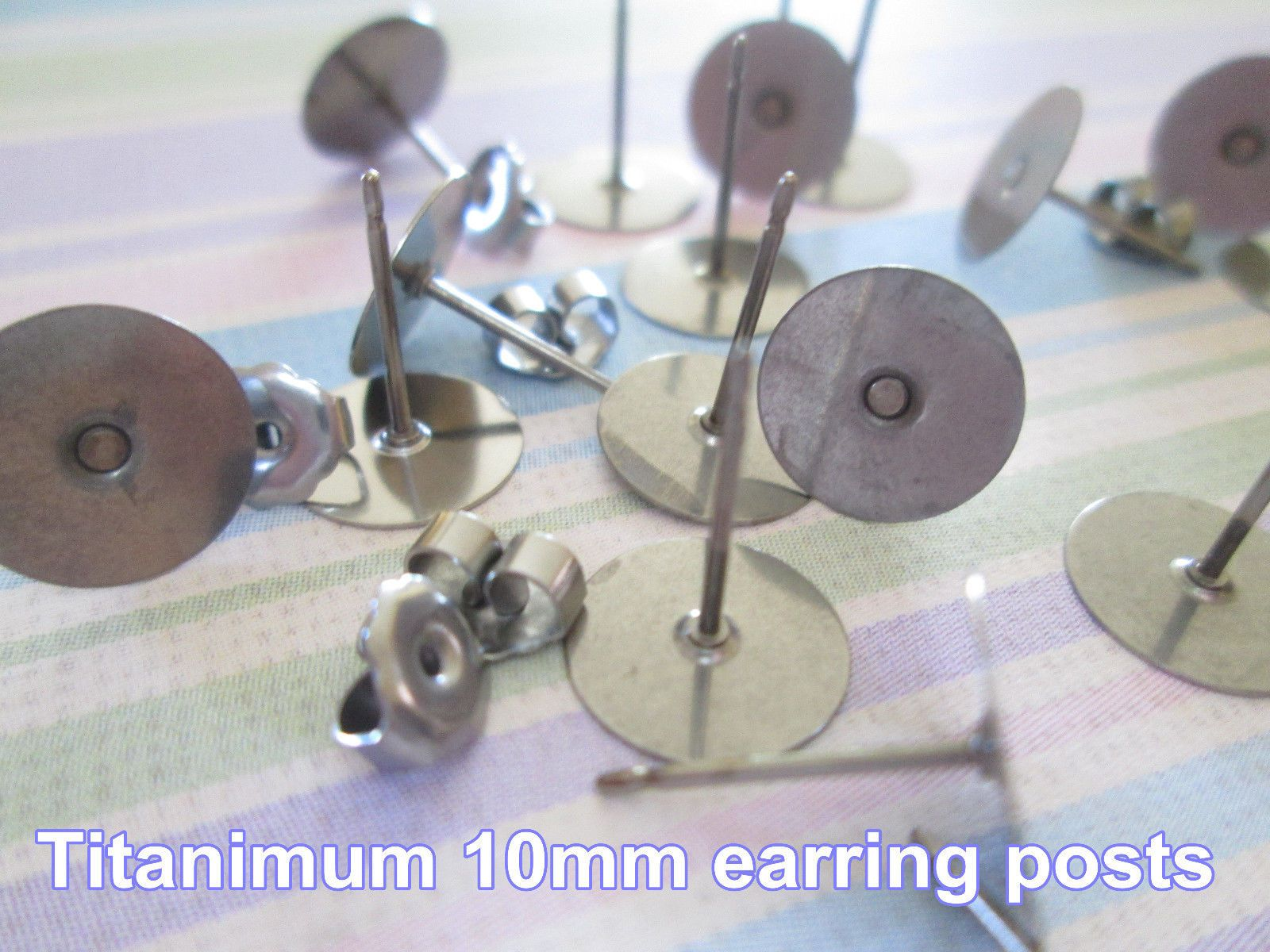 10 5 Anium Nickel Free 10mm Flat Pad Earring Posts And Backs Findings 24pcs