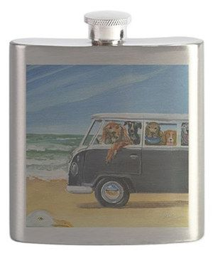 Love this Bus Full of Dogs on the Beach 6-Oz. Flask by CafePress on #zulily! #zulilyfinds
