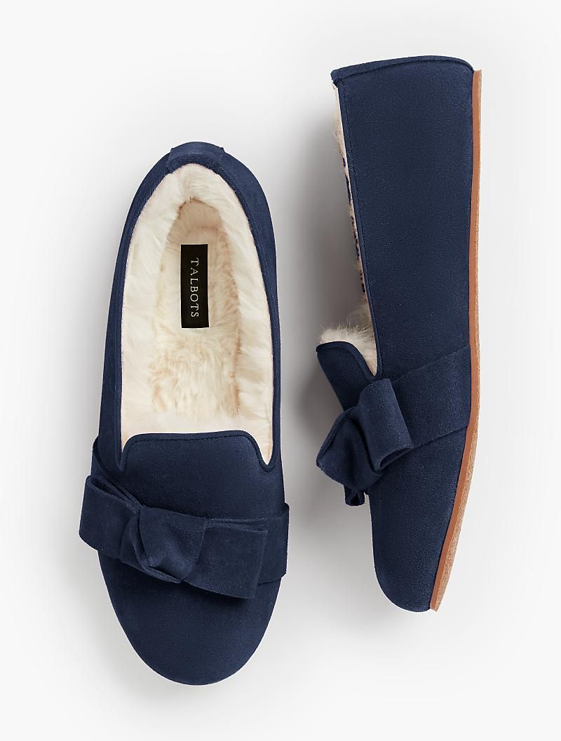 dfe86a3bb5b83f Fireside Shearling-Lined Slippers - Bow Detail