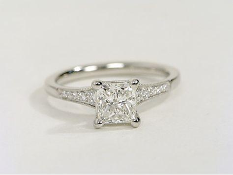 Graduated Milgrain Diamond Engagement Ring In Platinum 1 10 Ct Tw Detailed Engagement Ring Wedding Rings Diamond Engagement Rings