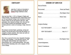 ideas for funeral service cards programs examples printable