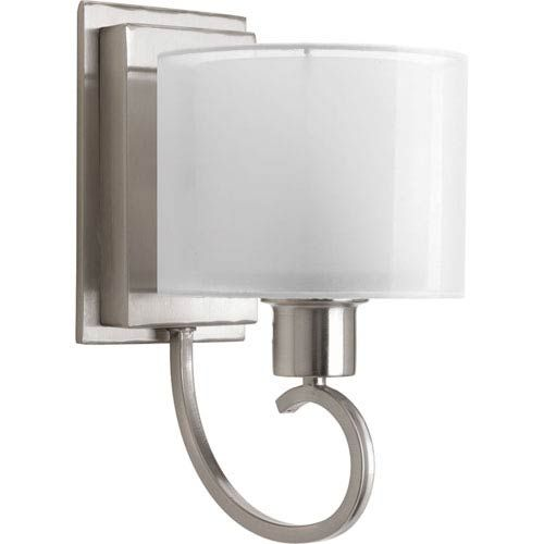 Photo of Progress Lighting loading brushed nickel one light vanity lamp with white glass 94204109 | a bellacor