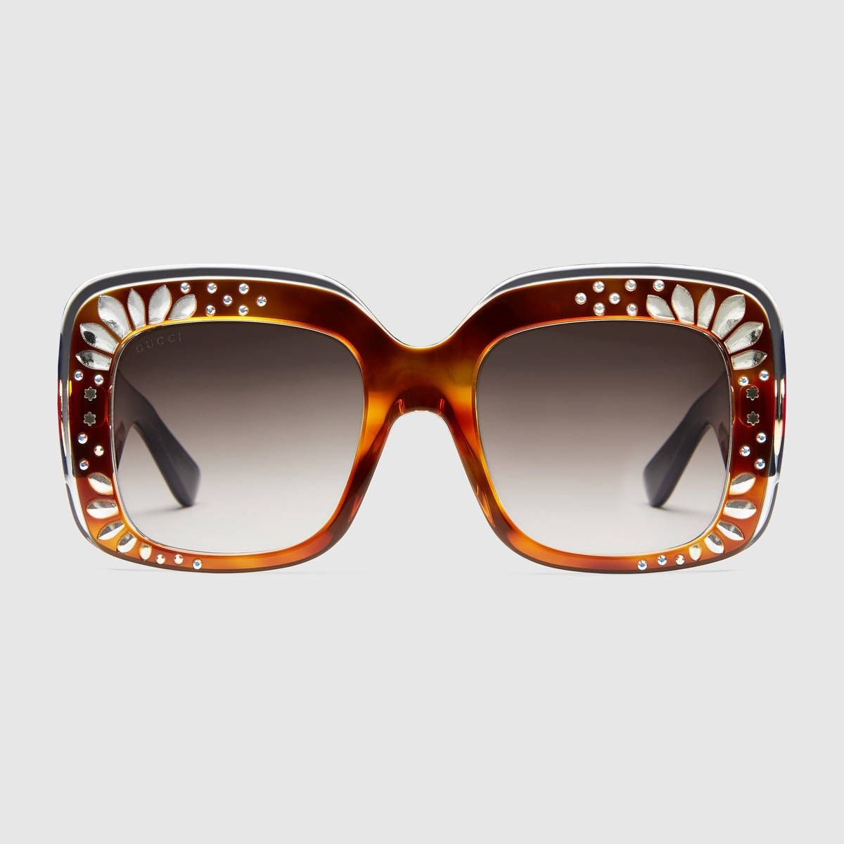 c0b8c8f98ab69 GUCCI Oversize Square-Frame Rhinestone Sunglasses - Tortoiseshell Acetate.   gucci  all