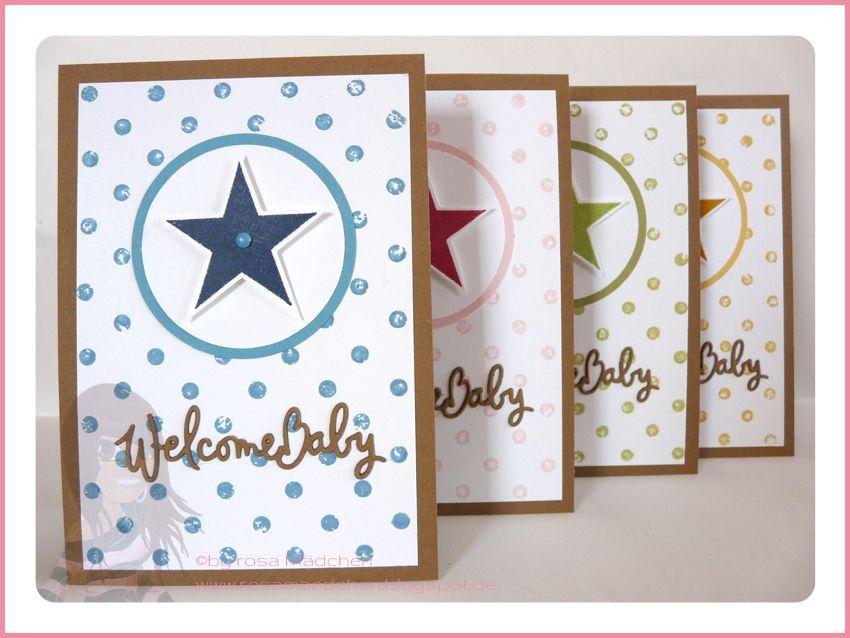Stampin' Up! Rosa Mädchen Babykarte mit Simply Stars und Distressed Dots