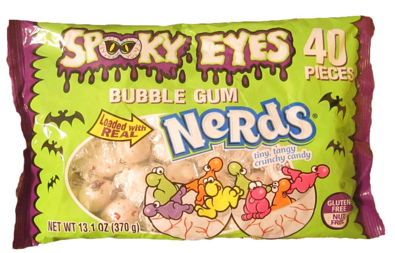 Spooky Eyes Bubble Gum Filled with Nerds Halloween Candy