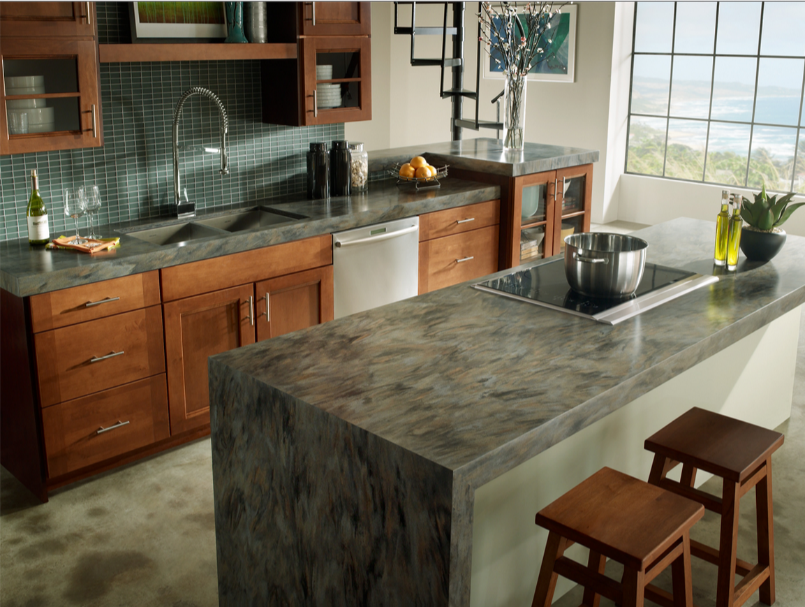 Green Marble Kitchen Island In A Natural Wood Color Modern