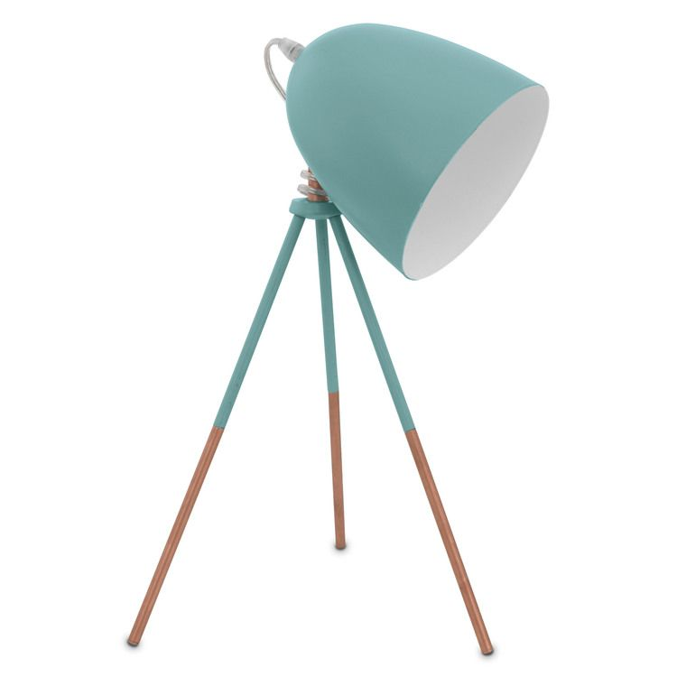 Lampe à Poser Trépied En Métal Bleu Et Cuivre Orientable Hauteur 44cm  Vintage
