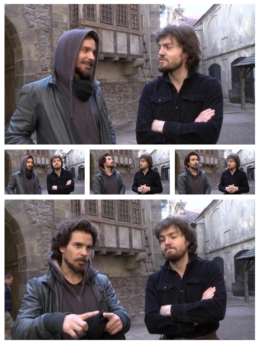 Santiago Cabrera & Tom Burke from the Musketeers series 1 DVD Extras (extended stills)