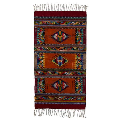 Intricate Star Motif Zapotec Hand Woven Brown Blue Area