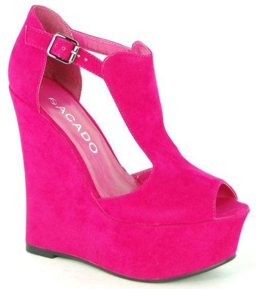 Wildly Hot Pink Acado platform wedges