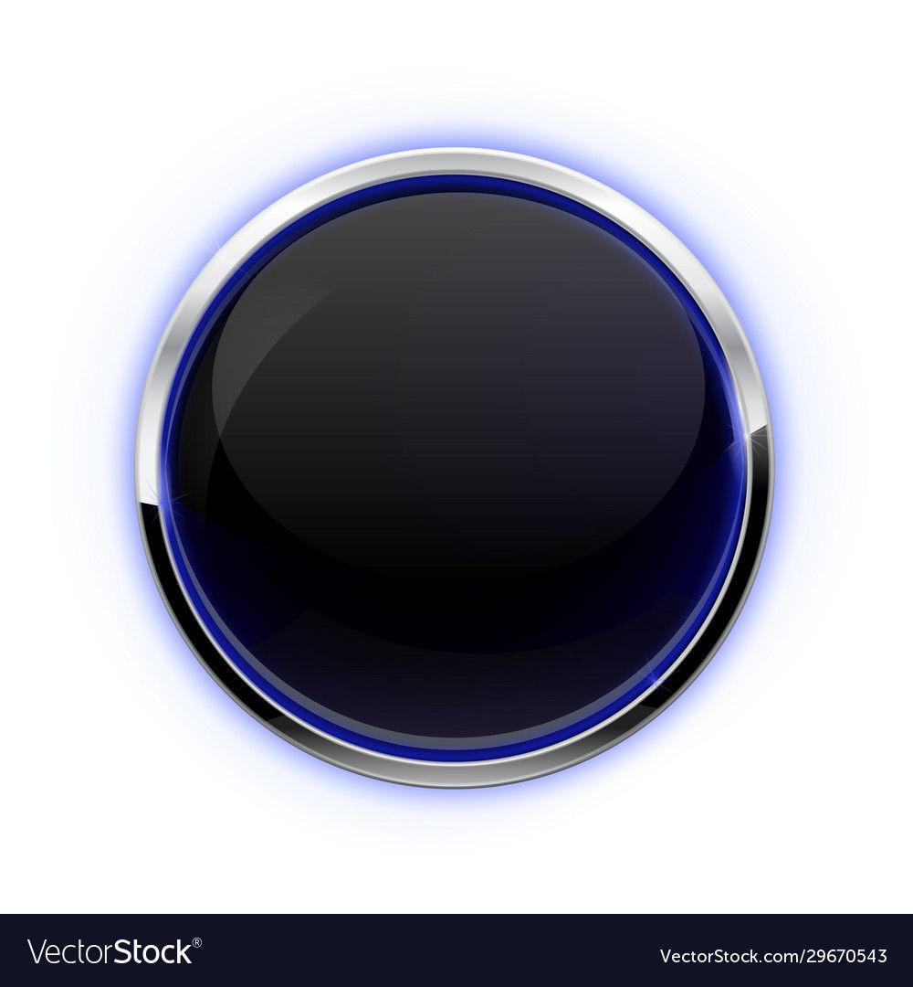 Black Button With Chrome Frame Glass Button With Blue Glow Vector 3d Illustration Isolated On White Background Downloa Glass Buttons Chrome Frame Frame Logo