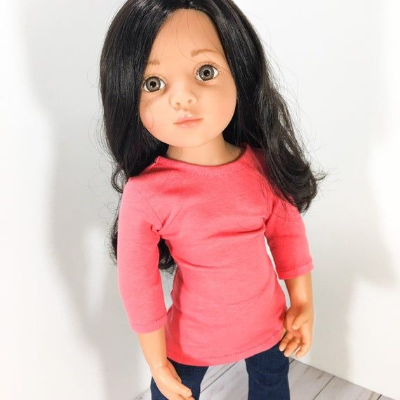 18 and 19 Doll Clothes - Coral long sleeved Top, doll shirt to fit dolls like Gotz Happy Kidz, Kidz and Catz, Gotz Hannah