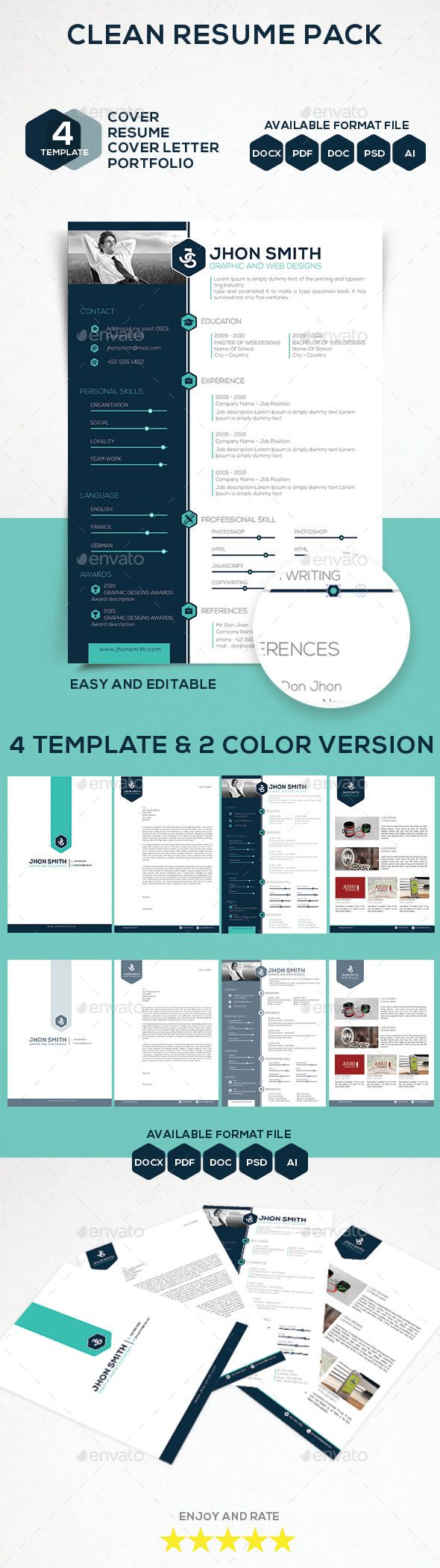 Resumedoc Clean Resume Pack  Pinterest  Template Cover Letter Resume And .