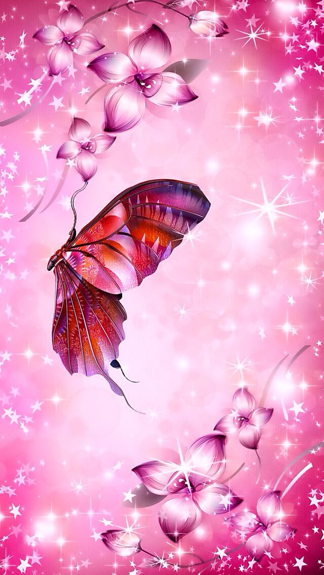 Pink sparkles with butterfly | Wallpapers femininos, Papel ...