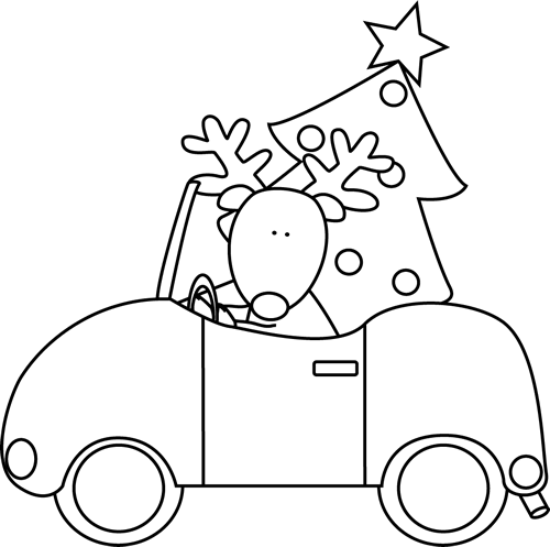 black and white reindeer hauling a christmas tree clip art - Christmas Tree Clipart Black And White